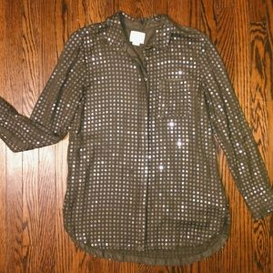 Anthropologie Maeve sequin olive green button down